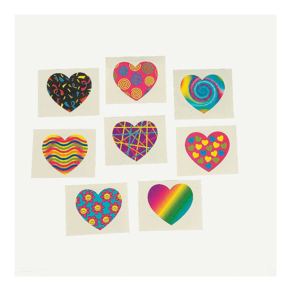 72 VALENTINE'S DAY Birthday Everyday Party Favors Colorful FUNKY HEART TATTOOS