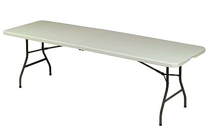 Beautiful MECO 8 Feet Folding Table, Mocha Metal Frame And Cream Plastic Top