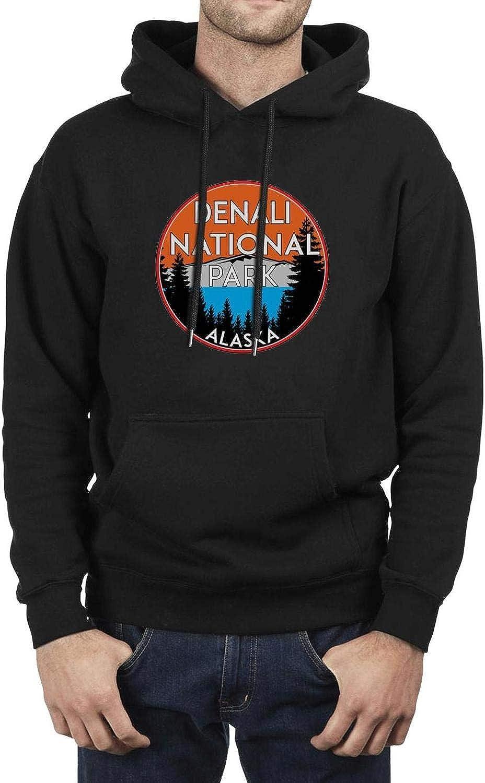 Denali National Park Alaska Mens Hooded Fleece Sweatshirt Novelty Pocket Hoodie Sweatshirt