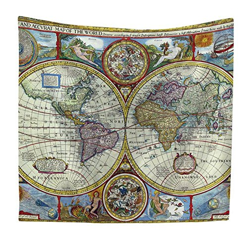 Blue Stones Tapestry Watercolor World Map Tapestry Wall Hanging Colorful Map Tapestry Beach Tapestry Indian Dorm Decor Bedroom Living Room ()