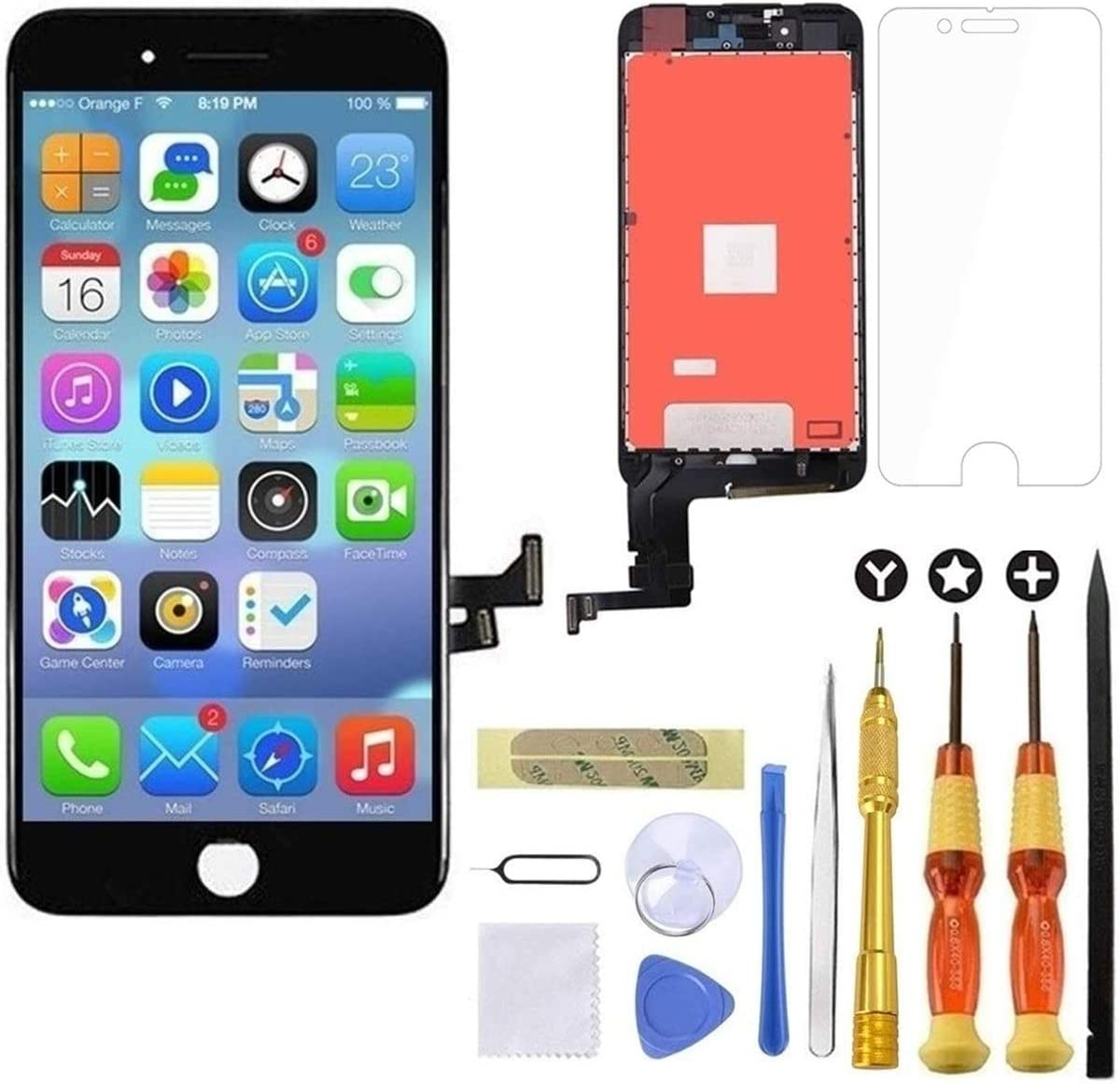 Goldwangwang iPhone 7 Plus Screen Replacement Black,5.5inch 3D Touch LCD Screen Digitizer Replacement Frame Display Assembly Set with Repair Tool kit + Tempered Glass Screen Protector + Instruction