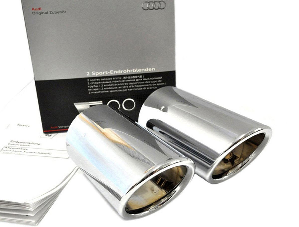 original Audi TT 8j ESCAPE TUBOS DE ESCAPE CUBIERTAS DE TUBO DE ESCAPE S-LINE soppelendrohr acero inoxidable pulido 8j0071761