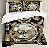 Ambesonne Industrial Decor Duvet Cover Set Queen Size, Pieces of Old Mechanism Close Up Gears View Grunge Antique Cogs Technical Image, Decorative 3 Piece Bedding Set with 2 Pillow Shams, Sepia