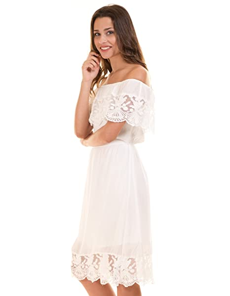Vila Vestido Corto ibicenco Blanco Clothes (XS - Blanco)