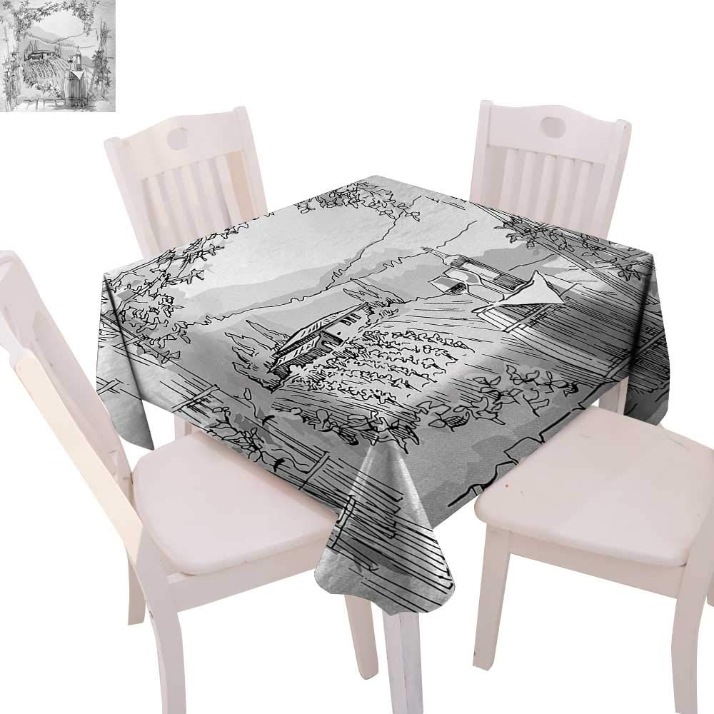 "cobeDecor Sketchy Washable Tablecloth Aerial View of Valley with House and Winery Elements Italian Mediterranean Art Waterproof Tablecloths 60""x60"" Pale Grey Black"