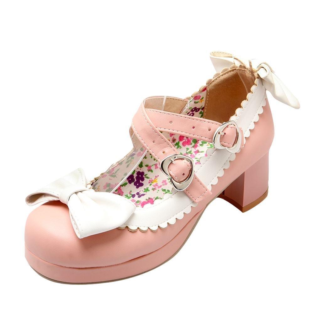 YE Damen Mary Jane Rockabilly Pumps Blockabsatz High Heels Plateau Geschlossen mit Riemchen und Schleife Elegant Schuhe  41 EU|Rosa