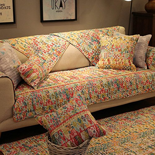 AFAHXX Vintage Quilted Cotton Slipcover,Non-slip Decorative Couch Covers Thickened Furniture Protection Cover Sofa Cover Slipcover Sofa Slipcover Cushion L Peninsula-B 70210cm(2883inch) by AFAHXX