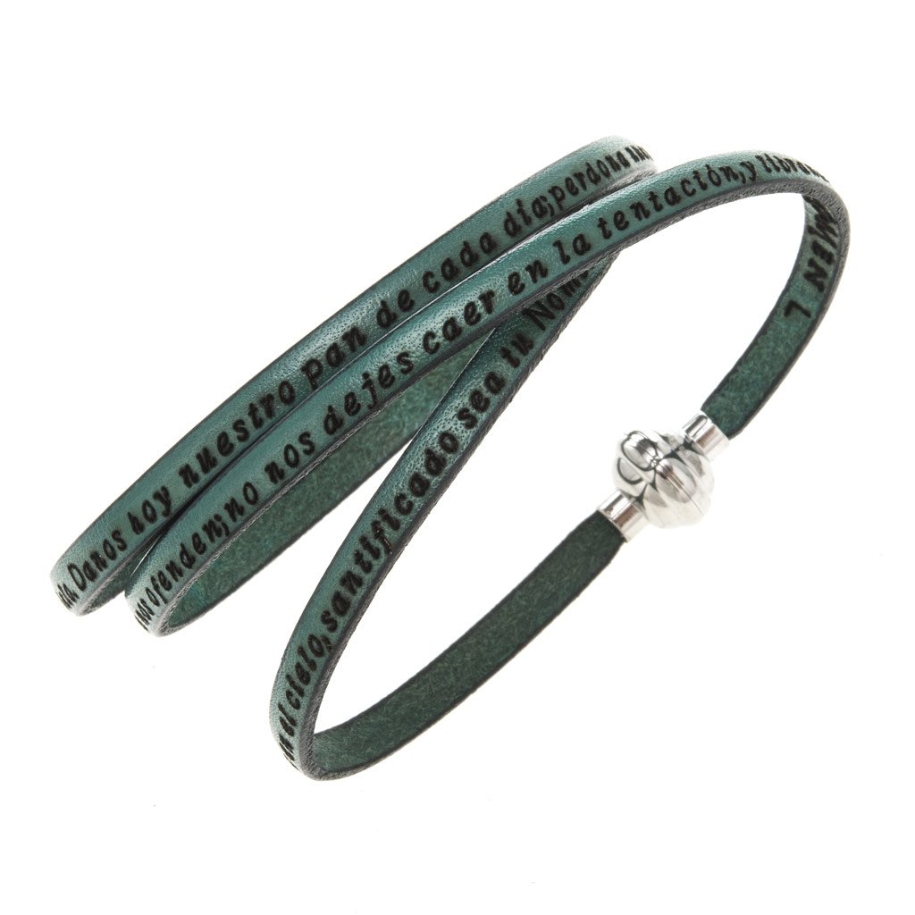 Holyart Amen Bracelet in green leather Our Father SPA, 57 cm (22.46 inc.)