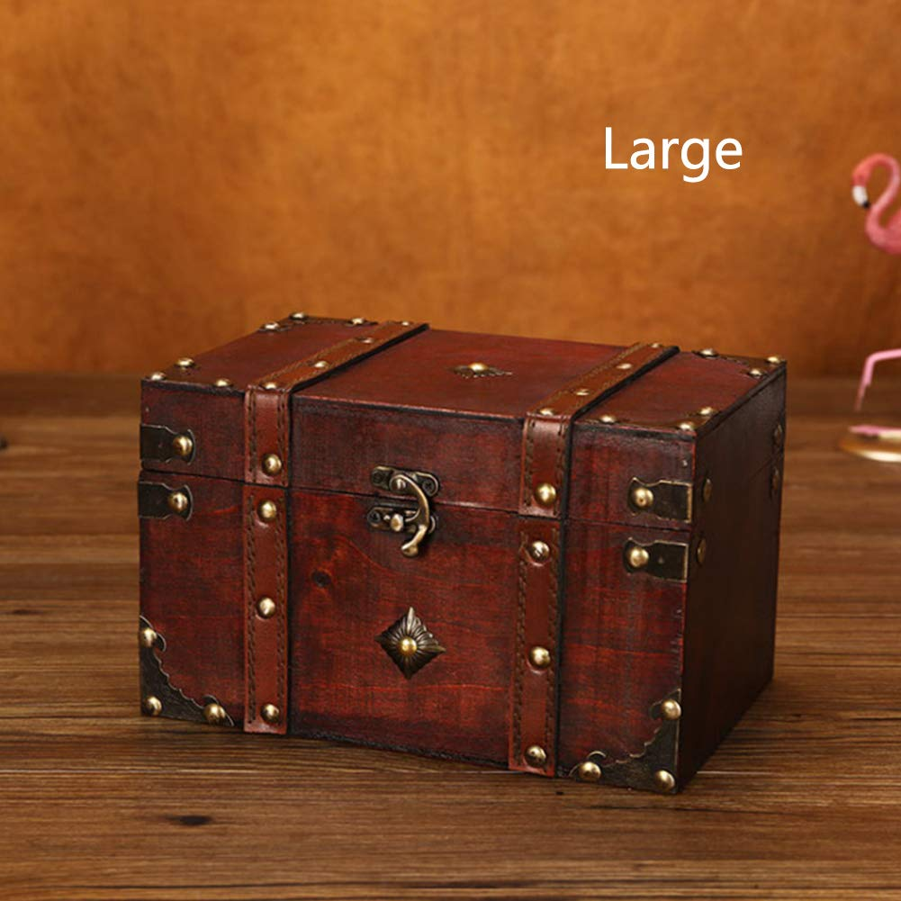 Storage Box Safe Vintage Lockable Wardrobe Jewelry Wooden Square