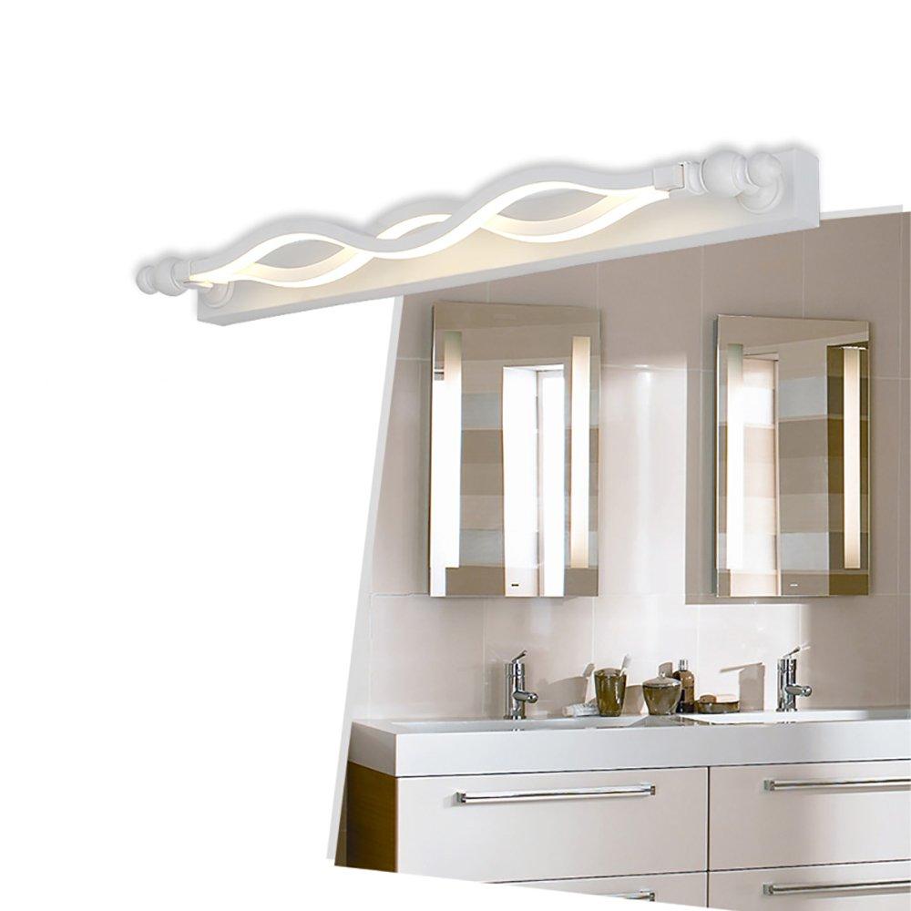 LJHA jingqiandeng LEDモダンウェーブミラーフロントライトバスルームライトダンププルーフディミング角度を調整するシンプルなミラーライト (色 : 無電極調光, サイズ さいず : 61cm-16W) B07L3QBBWH 61cm-16W|暖かい光 暖かい光 61cm-16W