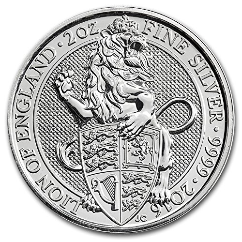 2016 UK Great Britain 2 oz Silver Queen's Beasts (The Lion) Silver Brilliant Uncirculated
