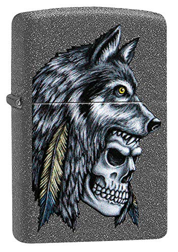 Zippo Wolf Skull Feather Design Iron Stone (Feather Zippo Lighter)