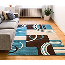 "Echo Shapes & Circles Blue & Brown Modern Geometric Comfy Casual Hand Carved Area Rug 8x10 8x11 ( 7'10"" x 9'10"" ) Easy Clean Stain Resistant Abstract Contemporary Thick Soft Plush Living Room Rug"