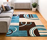 "Echo Shapes & Circles Blue & Brown Modern Geometric Comfy Casual Hand Carved Area Rug 4x5 4x6 ( 3'11"" x 5'3"" ) Easy Clean Stain Fade Resistant Abstract Contemporary Thick Soft Plush Living Room Rug"