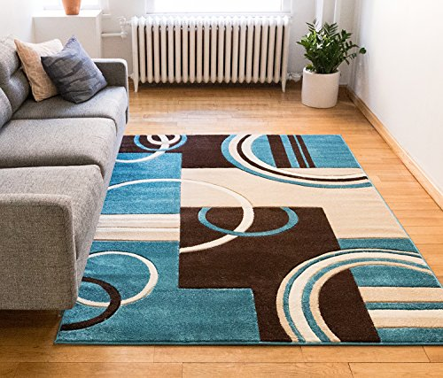 Echo Shapes & Circles Blue & Brown Modern Geometric Comfy Casual Hand Carved Area Rug 8& ...