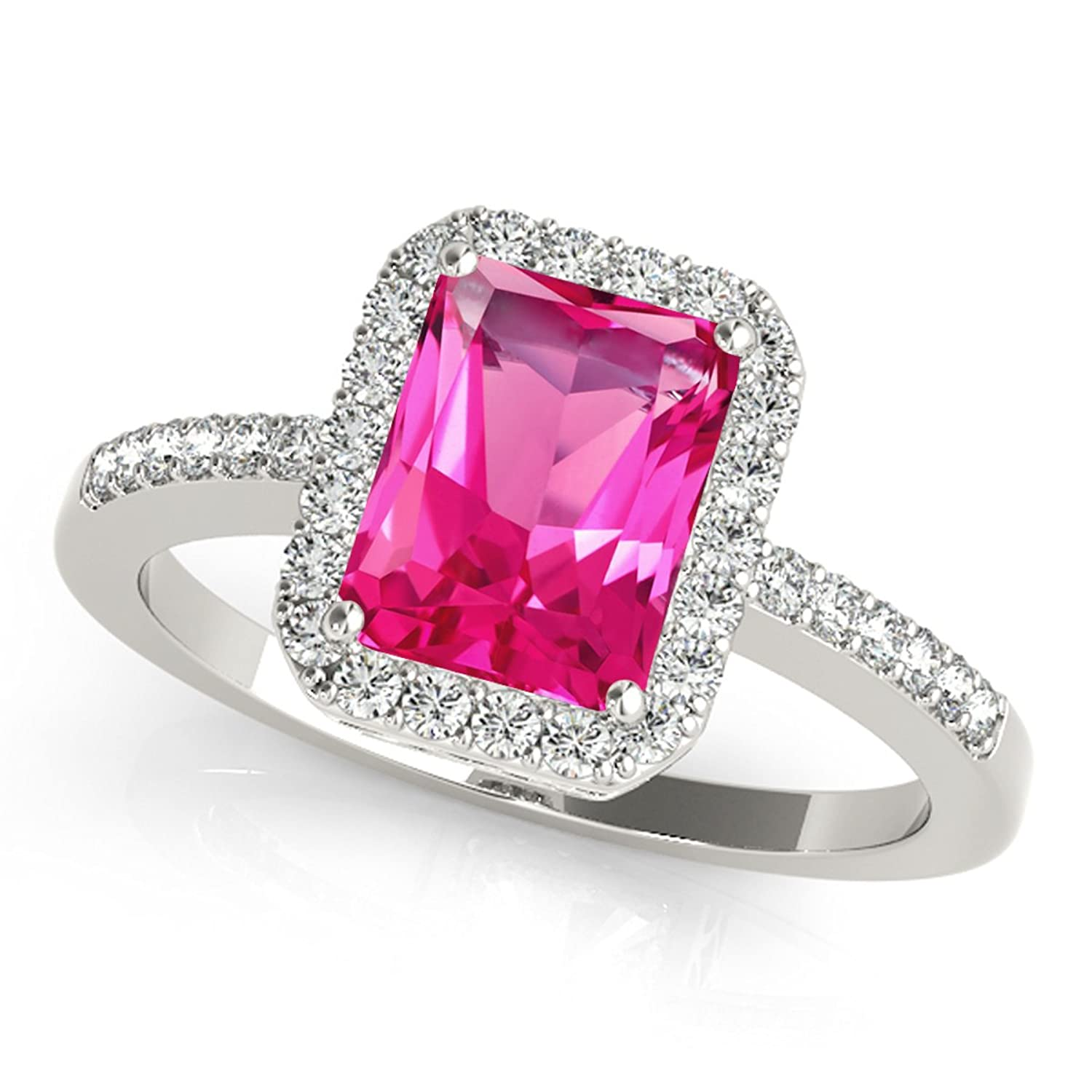 Amazon.com: 3.15 Ct. Ttw Diamond and Emerald Shaped Pink Topaz Ring ...