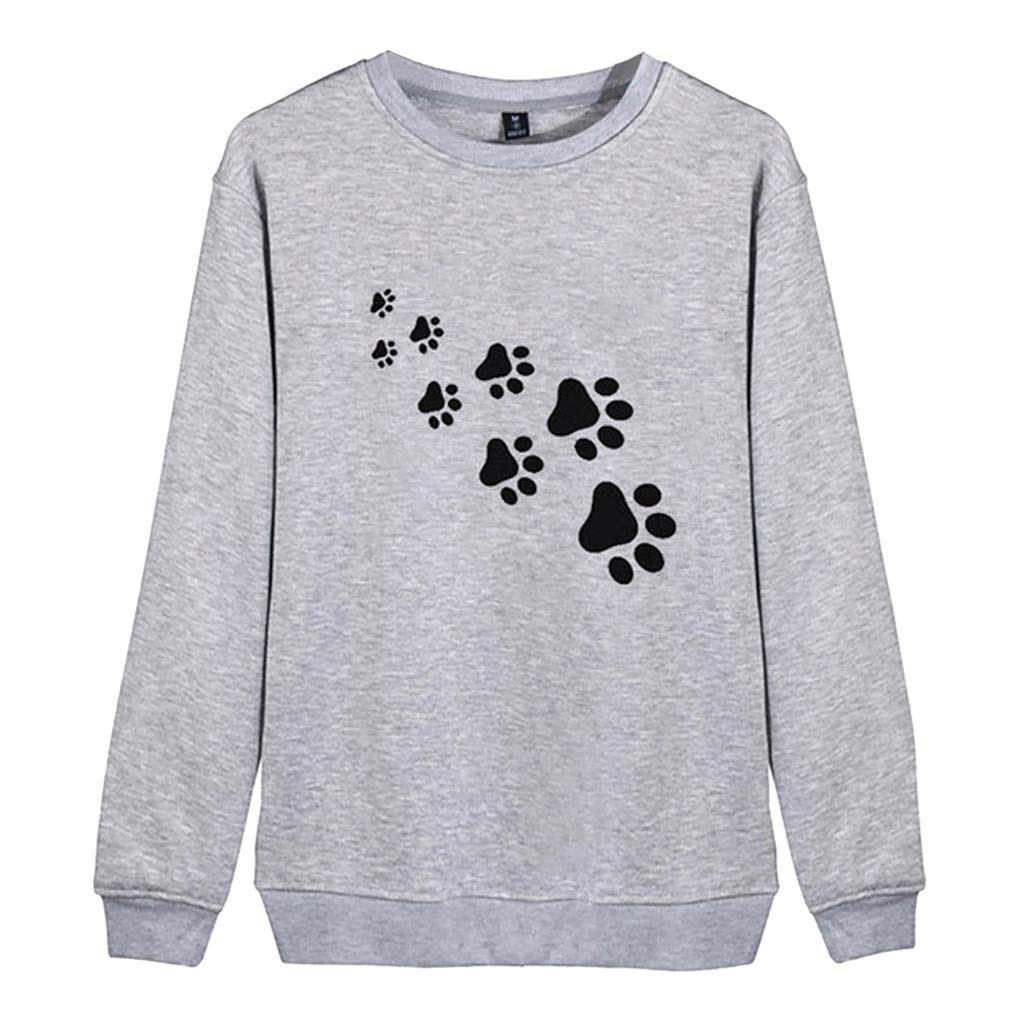 〓COOlCCI〓Women Fashion Hoodies & Sweatshirts,Women's Sweatshirt Dog Foot Print Lightweight Pullover Top Blouse Shirts Gray by COOlCCI_Womens Clothing