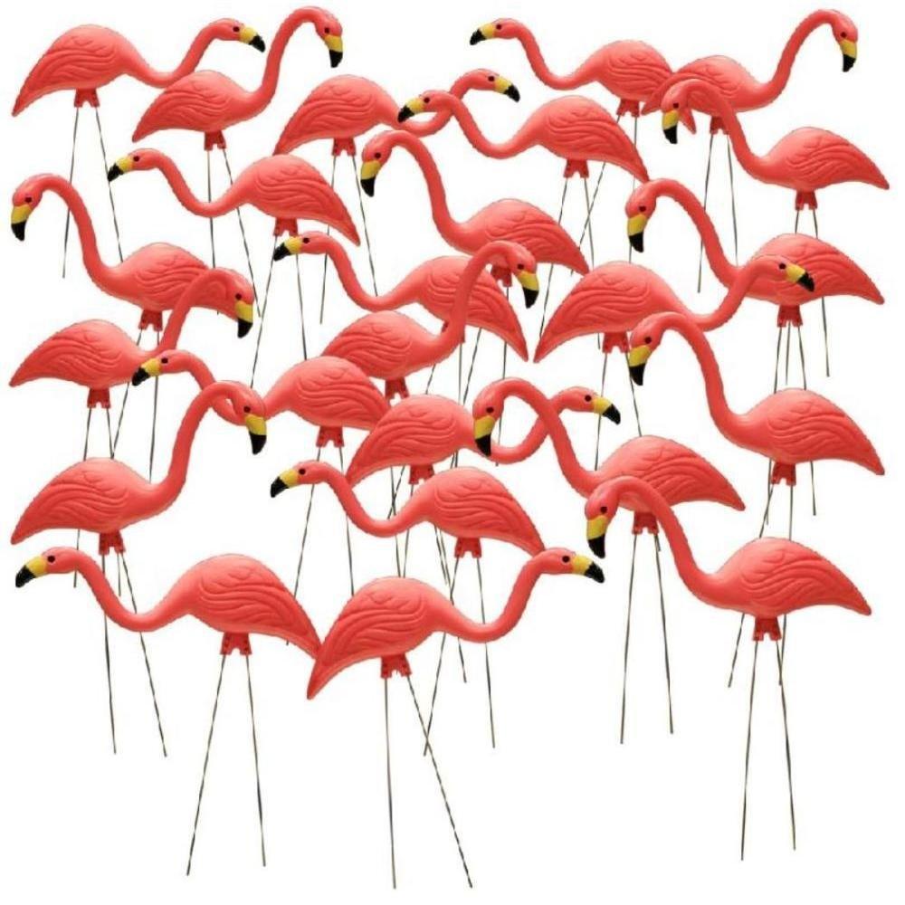 26'' Pink Flamingo Resin Garden Statues Lawn Ornament Retro Decor (24-Pack)