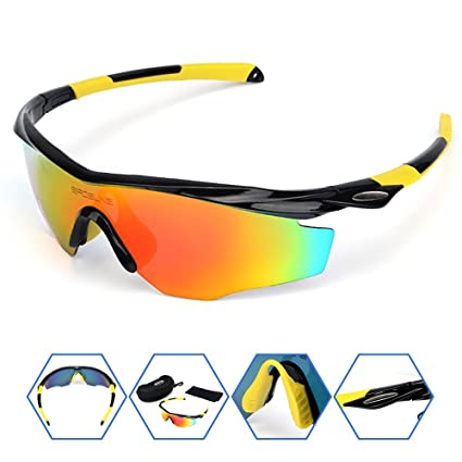 628c9f4051 SPOSUNE Sports Sunglasses Glasses for Men Women PC Unbreakable Frame and  Polycarbonate Lens for Cycling Baseball