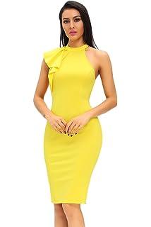 d24eaaea069 Women s Fashion Ruffle One Shoulder Sleeveless Midi Bodycon Cocktail Party  Dress