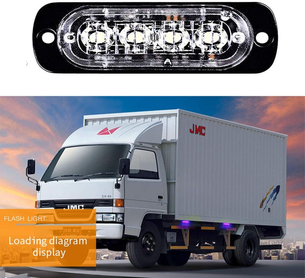 XUPHINX 1 unids 4LED Car Truck Luz de Advertencia de Emergencia 12W Baliza Peligro Flash L/ámpara Estrobosc/ópica Bar Azul
