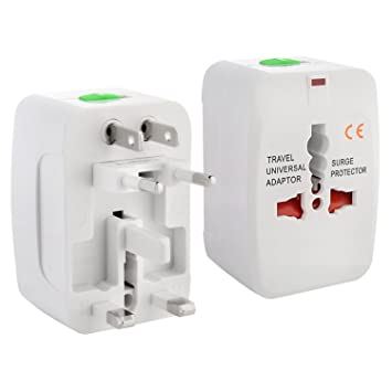 CLASSYTEK Rectangle Universal International World Wide All in One Travel Power Plug Surge Protector Adapter Charger for EU AU UK US CN JP HK Euro   Wh