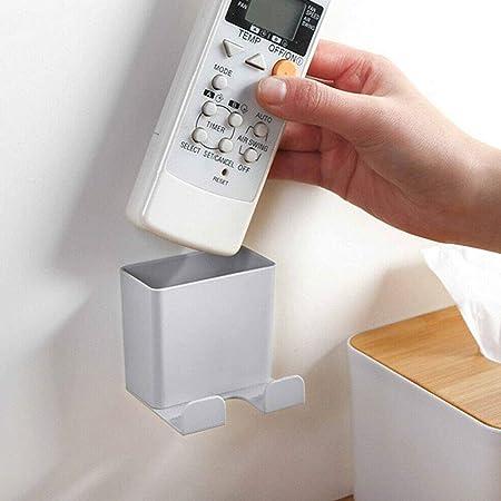Caja de almacenamiento Lnimikiy, práctica y pulida, bordes duraderos, soporte para mando a distancia de ABS, soporte para teléfono móvil, montado en la pared, organizador para el hogar,Gris: Amazon.es: Hogar
