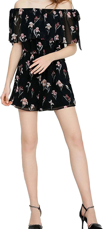 Funy Decor Women Floral Printed Elastic Waistband Off Shoulder Ruffle Short Sleeve Romper Jumpsuit