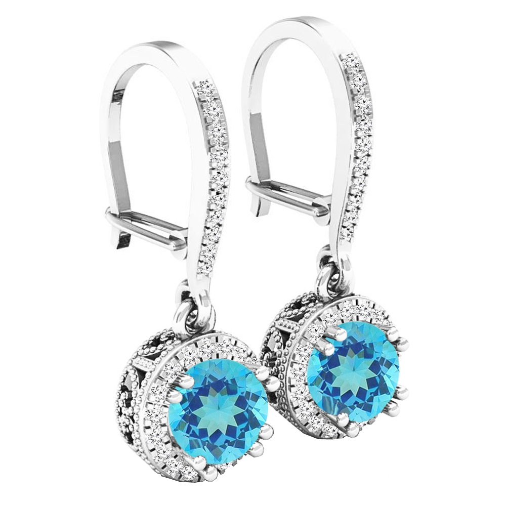 10K White Gold 5.5 MM Round Blue Topaz & Diamond Ladies Halo Style Millgrain Dangling Drop Earrings by DazzlingRock Collection