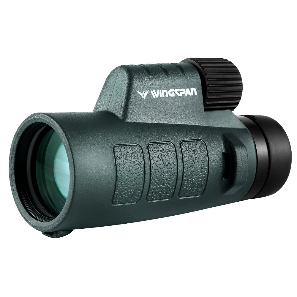 Wingspan Optics EagleEye 10X42 Compact Monocular with NEW PrismView Optics Provides Exceptionally Bright, Clear Views. One Hand Focus. Tripod Capable. Lightweight, Waterproof, Fogproof by Wingspan Optics