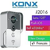 KONX® 2016 Doorbell Interphone Portier Video IP Réseau Wifi RJ45 + Relais porte Synthèse Vocale FR