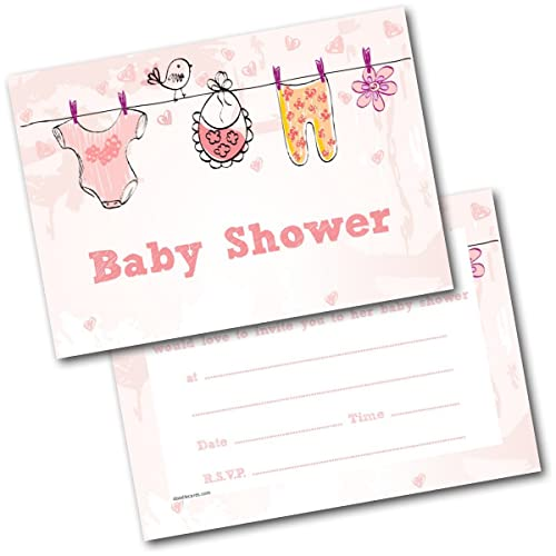 Pack of 8 baby shower invitations amazon kitchen home new pack of 20 baby shower invites baby clothes pink invitations with envelopes filmwisefo