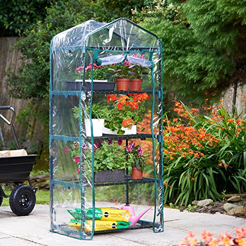 61Eq73C1WVL - VonHaus 4 Tier Portable Mini Compact Greenhouse with Clear PVC Cover - Unit: 63 x 28 x 20 inches
