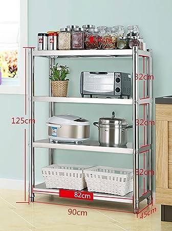 Electrodomésticos De Cocina Para Horno Tostador De Microondas Soporte De Acero Inoxidable 4 Niveles De Almacenamiento