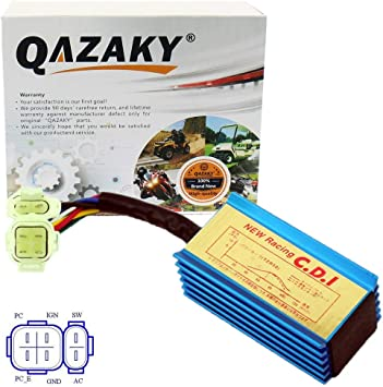 QAZAKY Racing 6 Pins AC CDI Box GY6 4-Stroke Engine 50cc 66cc 70cc 90cc 110cc 125cc 150cc Scooter ATV Go Kart Moped Quad Pit Dirt Bike 139QMB 152QMI 157QMJ