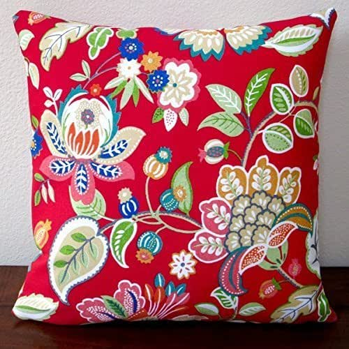 Amazon Com Artisan Pillows Outdoor 18 Inch Floral In Red
