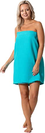 Turkish Linen Women's Waffle Spa Body Wrap with Adjustable Closure