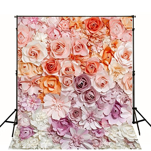 5x7 Digital Photography Backdrop Floral Bloom Photo Background for Wedding Hazy Flowers Baby Birthday Party Studio Props by VV Backdrop