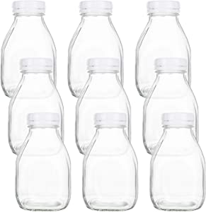 Bekith 9 Pack 16oz Heavy Glass Milk Bottleswith White Screw On Caps, Vintage Breakfast Shake Container for Beverage Glassware and Drinkware Parties, Weddings, BBQ, Picnics