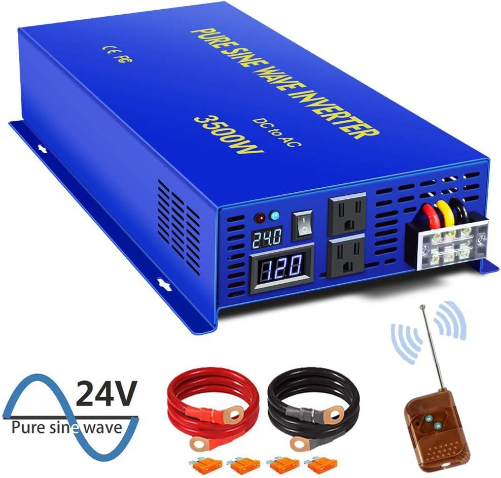 XYZ INVT 3500W Pure Sine Wave Inverter - 24V DC to 110V 120V AC Surge 7000 Watt Power Inverter Converter Generator w/ 100ft Wireless Remote Control for Solar System, Off Grid, RV.(3500W/24V)