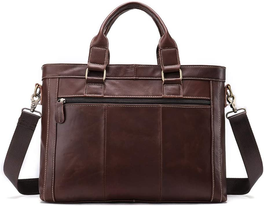 Large Capacity Dark Coffee Color Square Mens Leisure and Business Bag Zhengtufuzhuang Briefcase Retro Multi-Functional Mad Horse Leather Terylene Travel Bag 38x9x28.5cm Messenger
