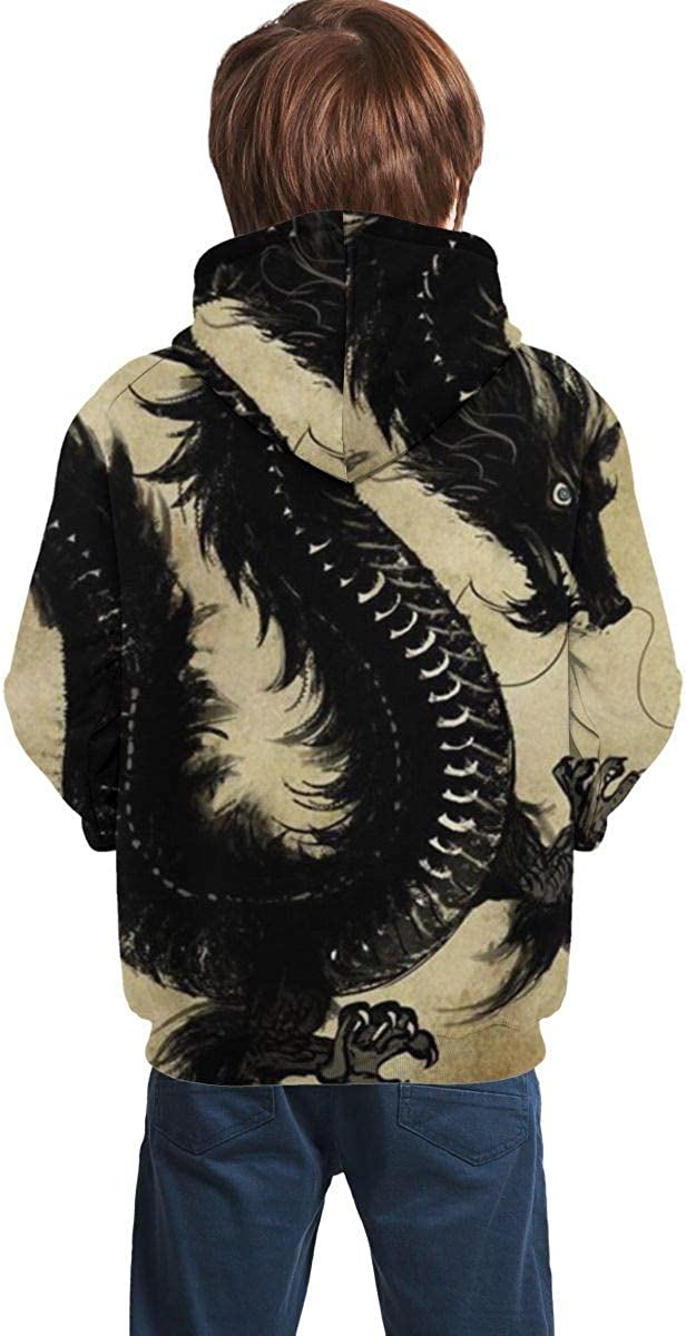 Chinese Dragons Art Student Hooded Sweatshirt Pullover Drawstring Pocket Novelty Sweat Shirt for Gril