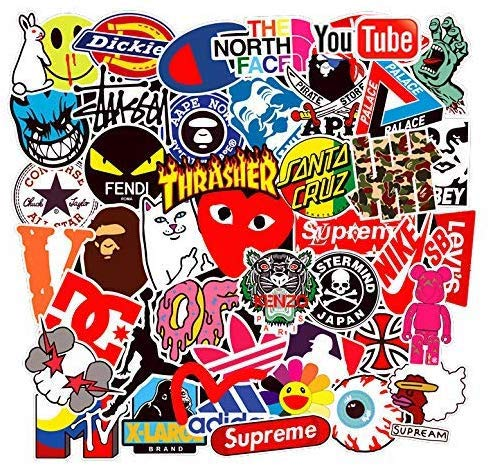 Street Fashion Sticker Decals(101pcs), BENYU Laptop Vinyl Stickers for Waterbottle,Hydro Flask,Snowboard,Luggage,Motorcycle,iPhone,MacBook,Wall,DIY Party Supplie Patches Decal (Monsters Inc Logo Sticker)