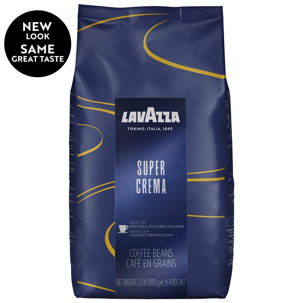 Lavazza Super Crema Whole Bean Coffee Blend, Medium Espresso Roast, 35.2 Ounce, Pack of 6