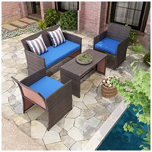 Garden and Outdoor YITAHOME 4 Piece Patio Furniture Sets, Outdoor All-Weather Sectional Sofa Manual Weaving Wicker Rattan Small Patio… patio furniture sets