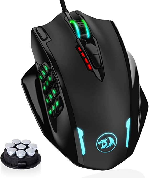 Redragon M908 Impact RGB LED MMO Mouse with Side Buttons Laser Wired Gaming Mouse with 12