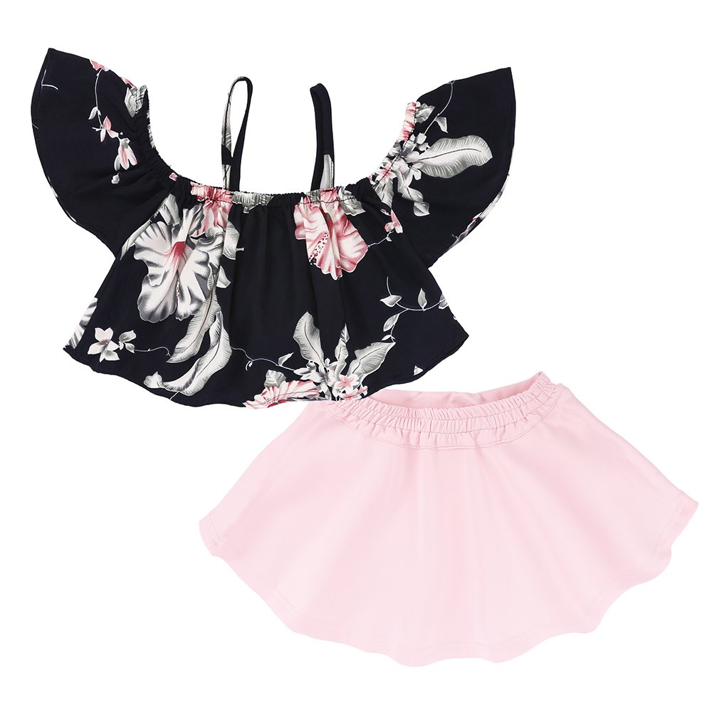 2pcs Baby Girls Cute Floral Off Shoulder Tops Pink Tutu Skirts Mary ye