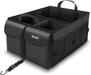 Knodel Car Trunk Organizer, Collapsible Auto Trunk Storage Organizer with Securing Straps, Non Slip Bottom (Black)