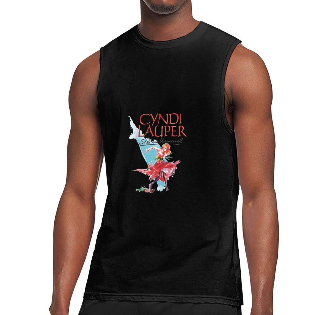 Sleeveless T Shirt Cyndi Lauper Workout Tank Tops Gym Bodybuilding Tshirts Black