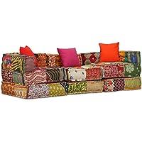 vidaXL 3-Seater Modular Sofa Bed Fabric Patchwork
